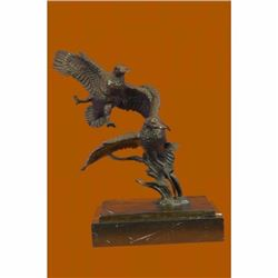 Marsh Land Duck Bronze Sculpture on Marble Base Figurine