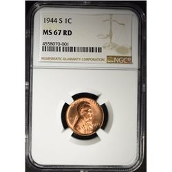 1944-S LINCOLN CENT, NGC MS-67 RED