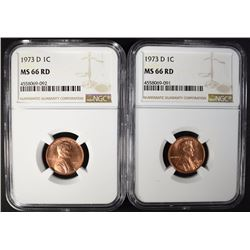 (2) 1973-D LINCOLN CENTS, NGC MS-66 RD