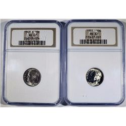 1949-S & 1951 ROOSEVELT DIMES, NGC MS-67 KEY DATES