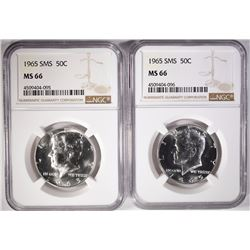 (2) 1965 SMS KENNEDY HALVES, NGC MS-66