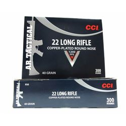 2 Boxes of 300 Rounds of CCI 22 LR Copper-Plated R