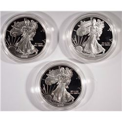 3 Proof Silver American Eagles 1996, 1997, 1998