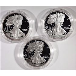 3 Proof Silver American Eagles 2001, 2002, 2003