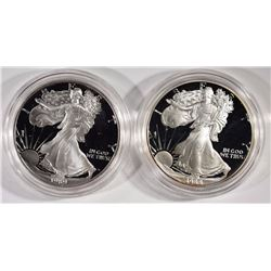 Set of 2 Proof Silver American Eagles 1988 & 1989