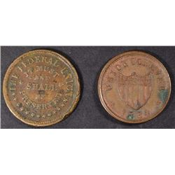 "2- CIVIL WAR TOKENS: ""UNION"" & ""ARMY & NAVY"""