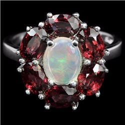 Natural White Opal and Rhodolite Garnet Ring