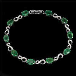 Natural Oval Top Rich Green Emerald 39 Cts Bracelet