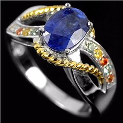 GENUINE MULTI COLOR SAPPHIRE & CZ RING