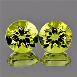 Natural Green Gold Lemon Quartz Pair 10.00 MM - VVS