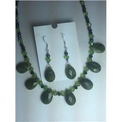 Hand Made Natural Jade Neckless Set with Earrings