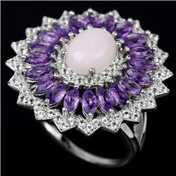 Natural Pink Opal & Amethyst Ring