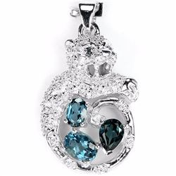 Natural London Topaz Tiger Cub Pendant