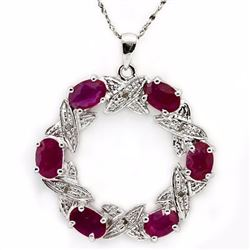 Genuine Ruby & Diamond 4.34 Carats Pendant