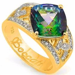 Natural Green Mystic & Diamond 4.05 ct Ring