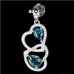 Natural London Blue Topaz Hearts Pendant