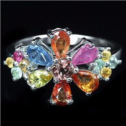 Natural Fancy Sapphire Flower Ring