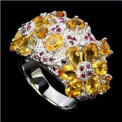 Natural Citrine & Ruby Ring