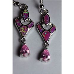 Natural Pink Topaz & Opal Earrings