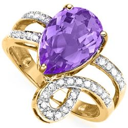 Natural Amethyst & Diamond Ring