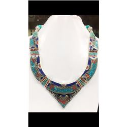 Tibet Natural Stone Hand Made Turquoise, Coral Necklace
