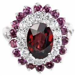 NATURAL PURPLISH PINK RHODOLITE GARNET Ring