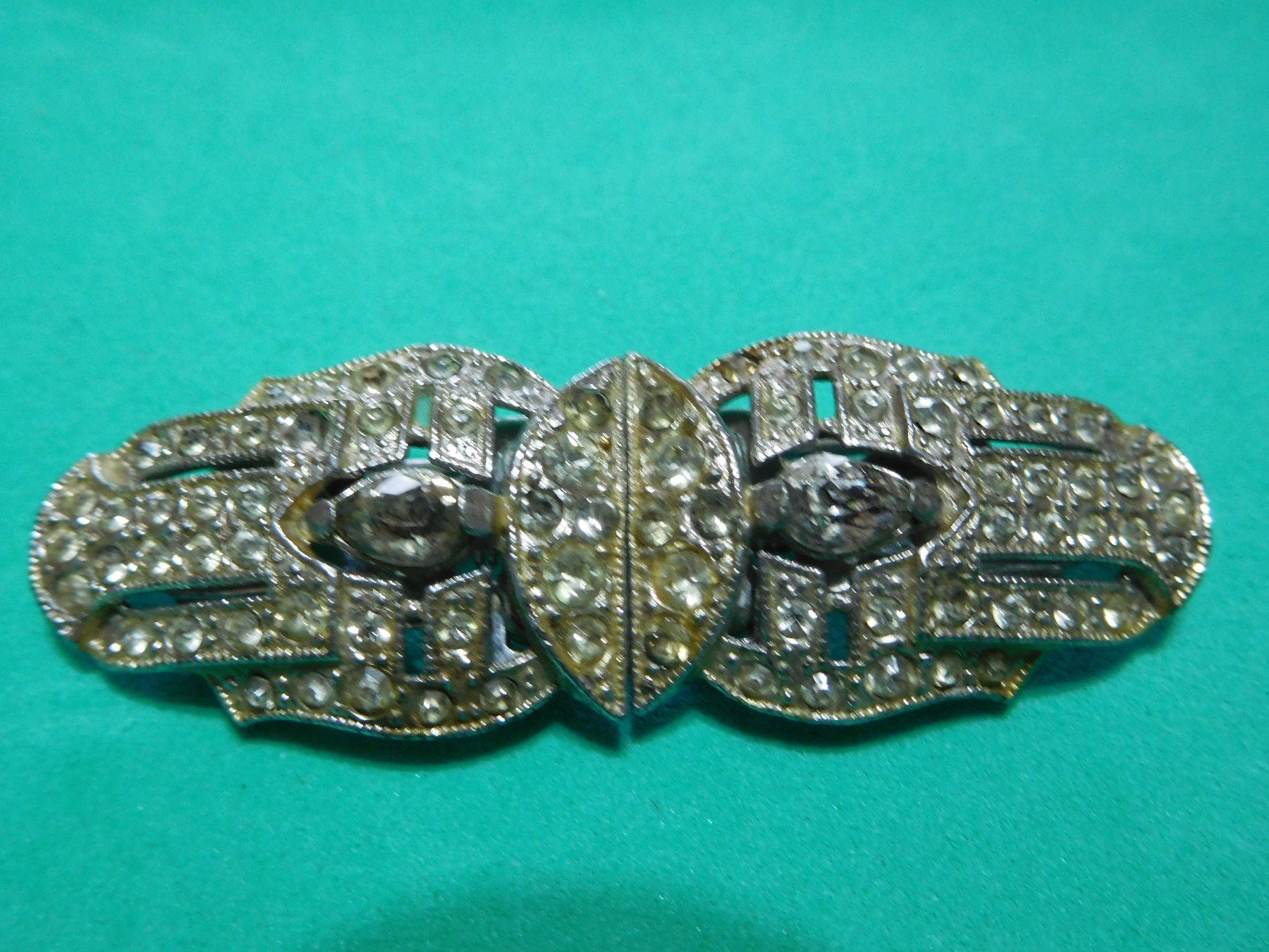 Image 1 Jewelry Estate Vintage Duette Clip Pin 1930 S With Patent Numbers Silvertone