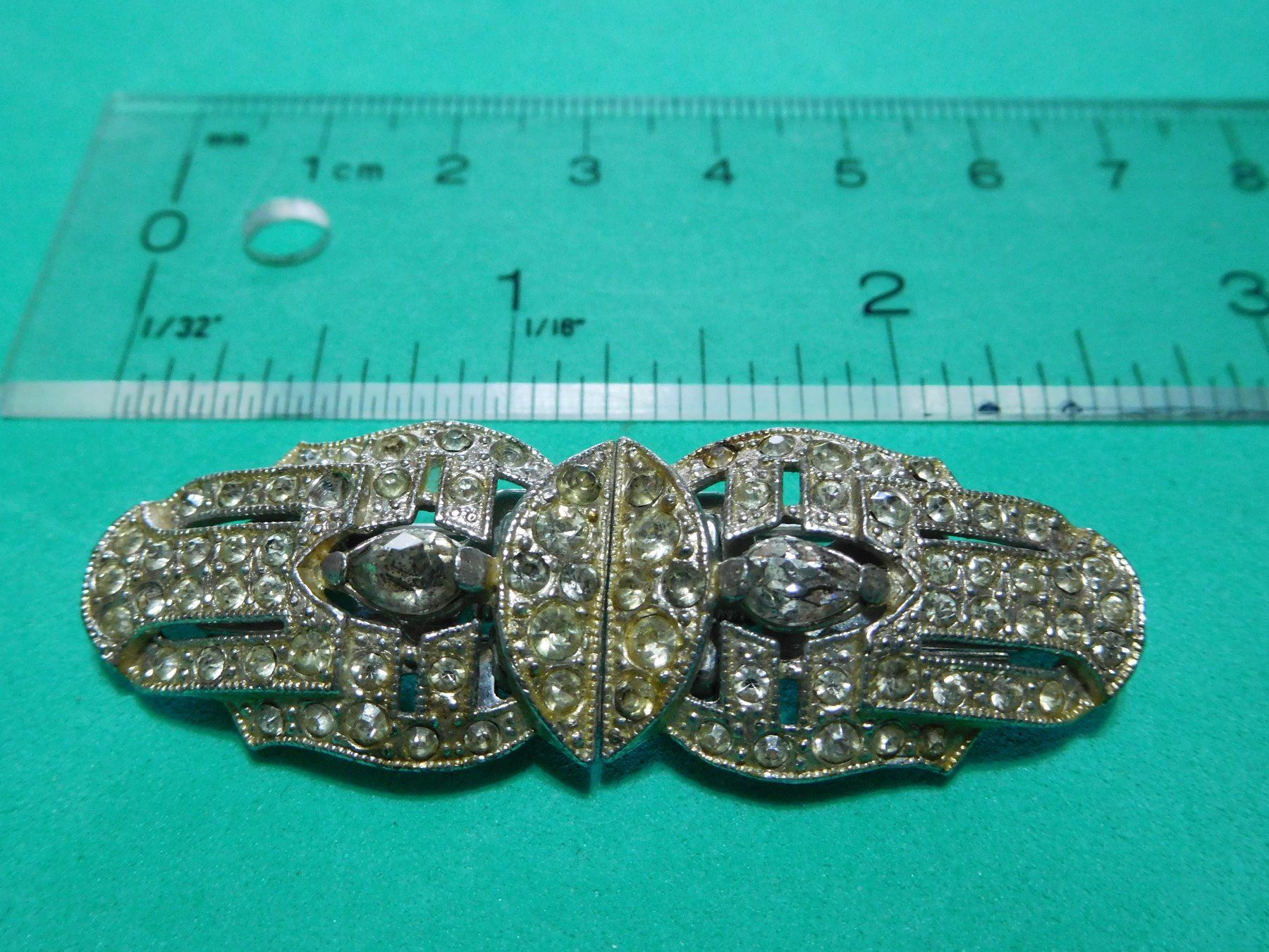 Image 2 Jewelry Estate Vintage Duette Clip Pin 1930 S With Patent Numbers Silvertone
