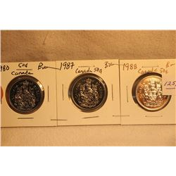 3 Canada Elizabeth II Fifty Cents - 1980; 1987; 1988 - all BU