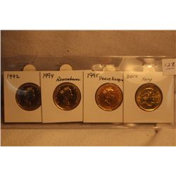 4 Canada Commemorative Loonies - 1992;1994;1995;2010 - all BU