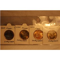 4 Canada Olympic Lucky Loonies - 2004; 2006; 2008; 2010 - all Unc.