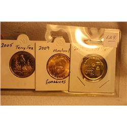 3 Cdn. Commemorative Loonies-2005Terry Fox;2009 Montreal;2012 Sask. Roughriders