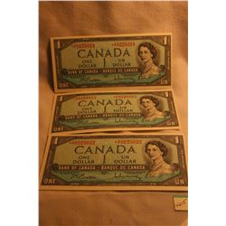 Canada Dollar Bills (3) 1954 - sequenced 22, 23, 24