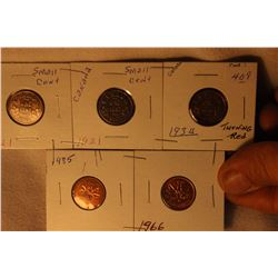 Canada One Cent Coins (5) 2-1921; 1934; 1966; 1985