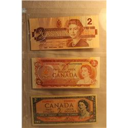 Canada Two Dollar Bills (3) 1986; 1974; 1954