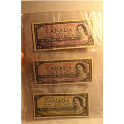 Canada Ten & Twenty Dollar Bills - 2 Tens(1954) 1 Twenty (1954)