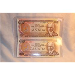 Canada One Hundred Dollar Bills (2) 1975 AJD; AJE