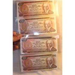 Canada One Hundred Dollar Bills (4) 1975 AJA; AJB; AJC; AJD