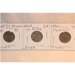 Great Britain Six Pence (3) 1945; 1946; 1950
