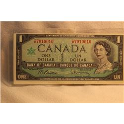 Canada Dollar  Bill - 1967 (Narrow Top Border)