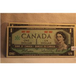 Canada Dollar Bills (2) 1967 - No Serial Numbers