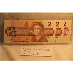 Canada Two Dollar Bills (4) 1986 - In Sequence