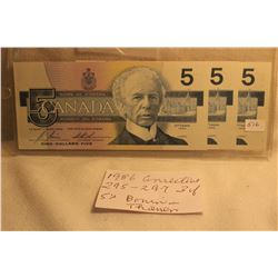 Canada Five Dollar Bills (3) 1986 - In Sequence