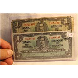 Canada One Dollar Bills (2) 1937