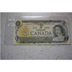 1973 Bank of Canada One Dollar Bill - Replacement Bill