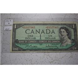 1954 Bank of Canada One Dollar Bill - Replacement Bill