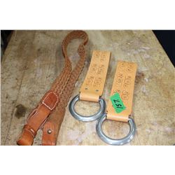 Pair of Leather Gun Hangers & Leather Braided Belt