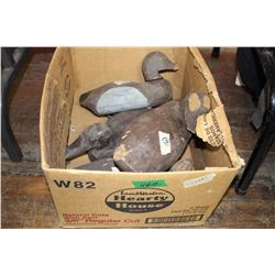 Box of 4 Old Wooden Decoys