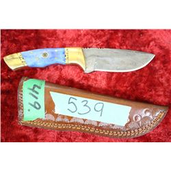 Knife - Damascas Blade w/Blue Handle - in Sheath