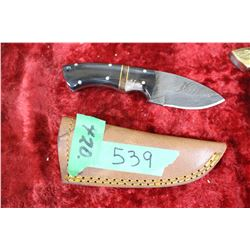 Knife - Damascas Blade w/Black Handle - in Sheath